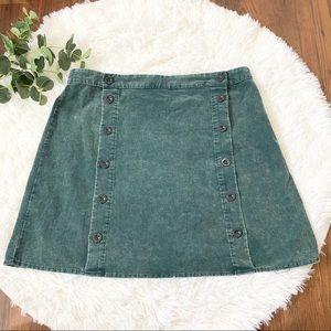 Sadie & Sage Green Corduroy Mini Skirt Size Medium